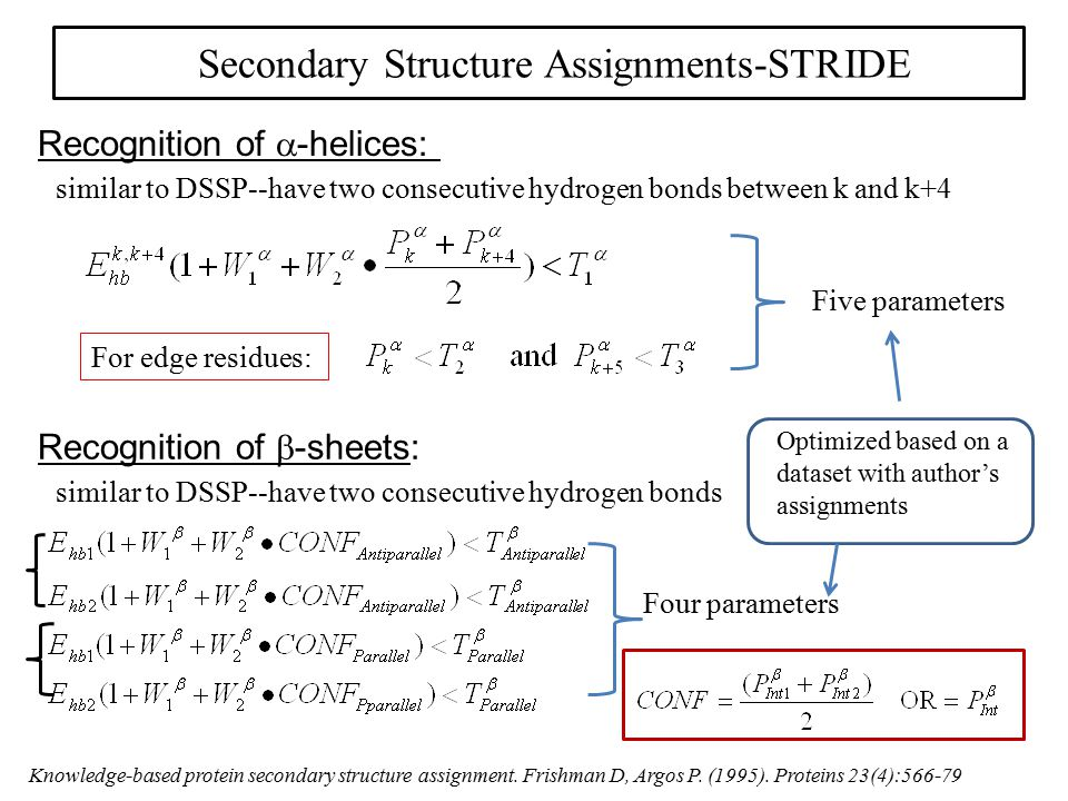 Secondary Structure Assignments-STRIDE