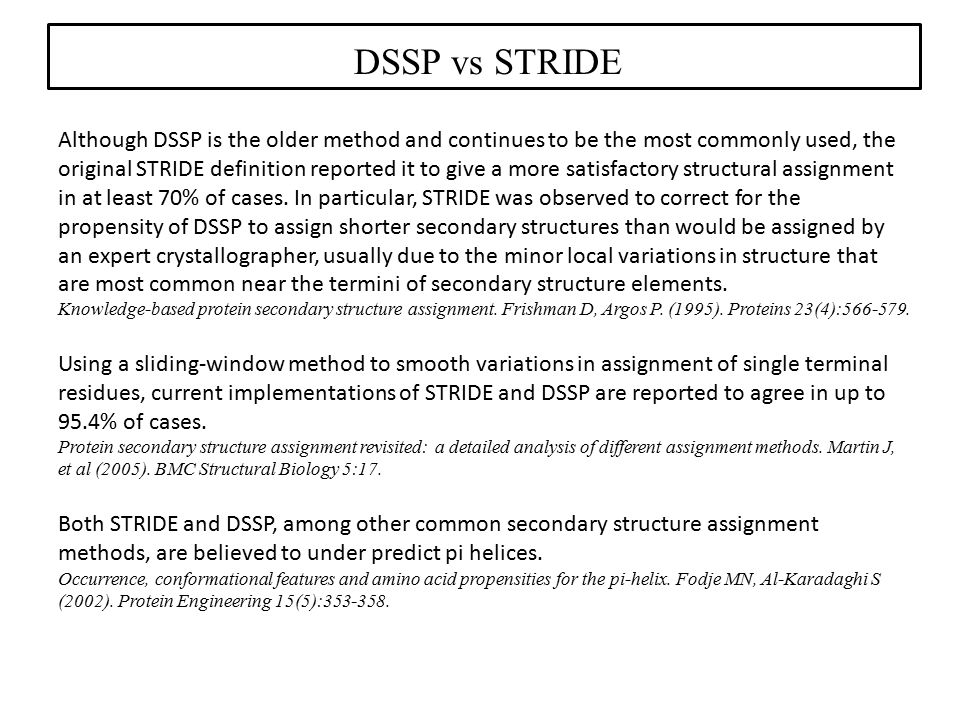 DSSP vs STRIDE