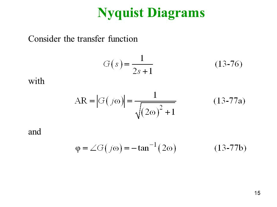 Nyquist Diagrams Consider the transfer function with and