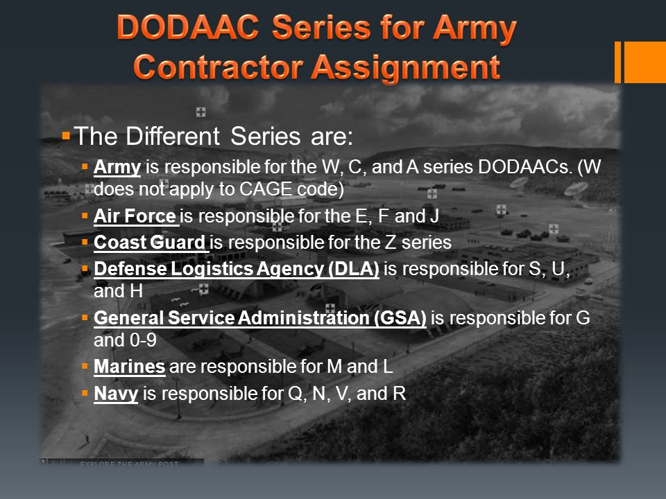DODAAC Series for Army Contractor Assignment