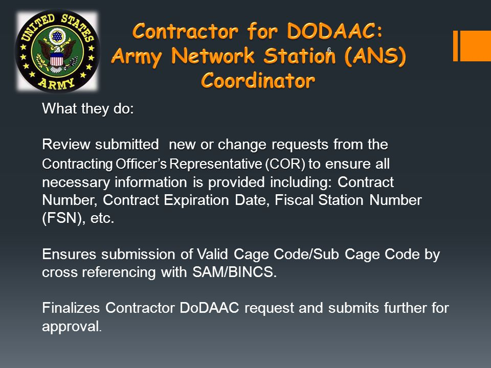 Contractor for DODAAC: Army Network Station (ANS) Coordinator