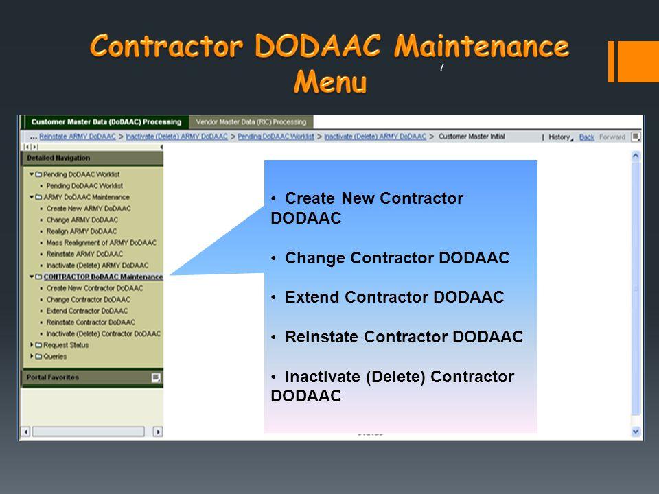 Contractor DODAAC Maintenance Menu