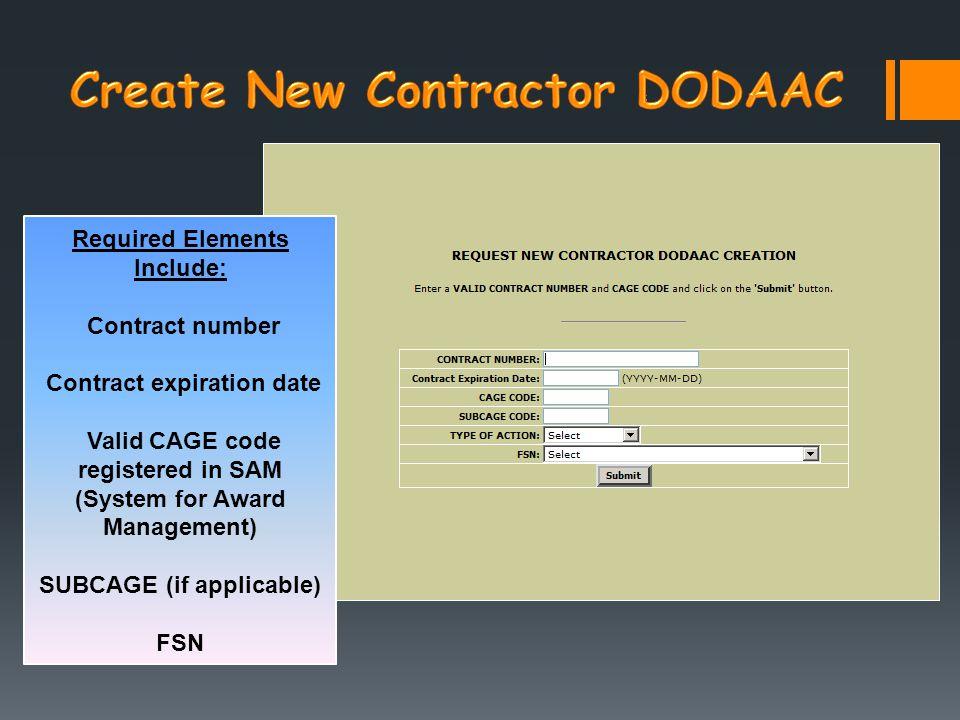 Create New Contractor DODAAC