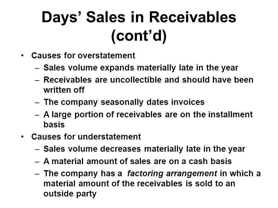 Days' Sales in Receivables (cont'd)