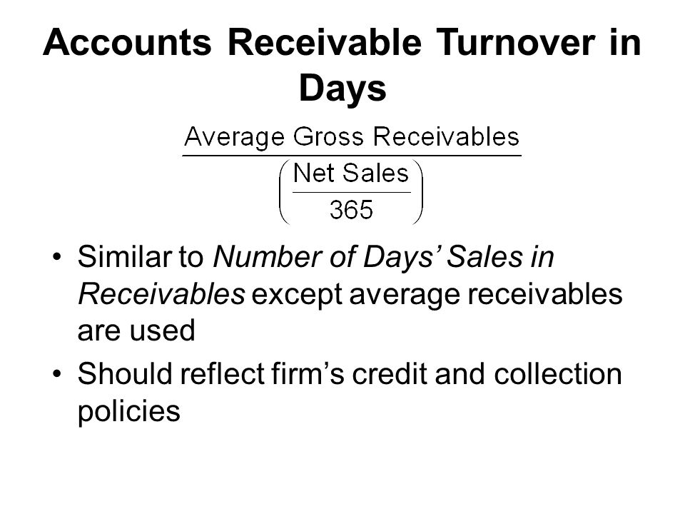 Accounts Receivable Turnover in Days