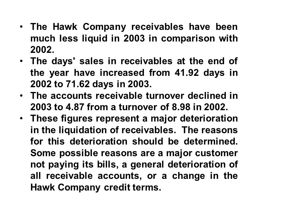 The Hawk Company receivables have been much less liquid in 2003 in comparison with 2002.