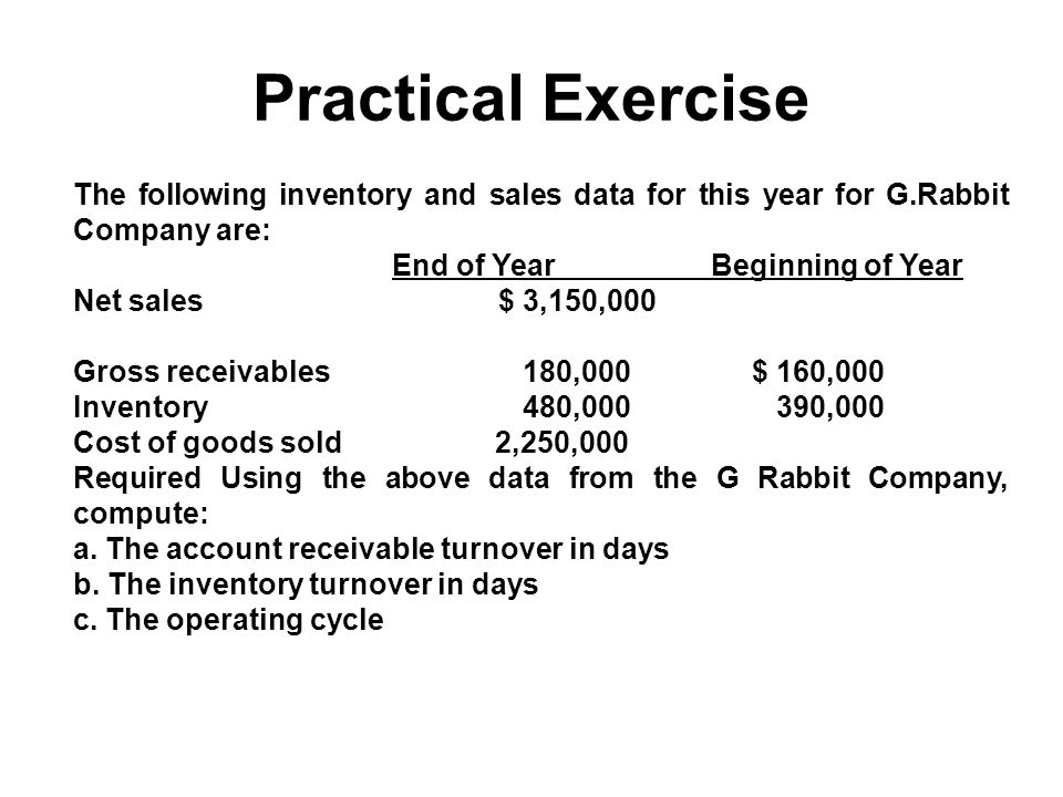 Practical Exercise The following inventory and sales data for this year for G.Rabbit Company are: End of Year Beginning of Year.