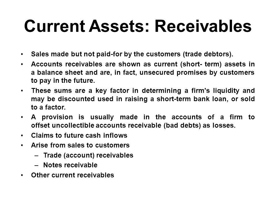 Current Assets: Receivables