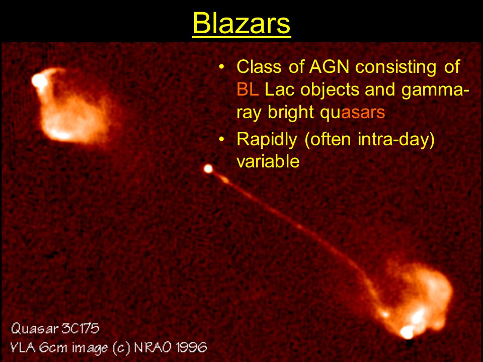 Blazars Class of AGN consisting of BL Lac objects and gamma-ray bright quasars.