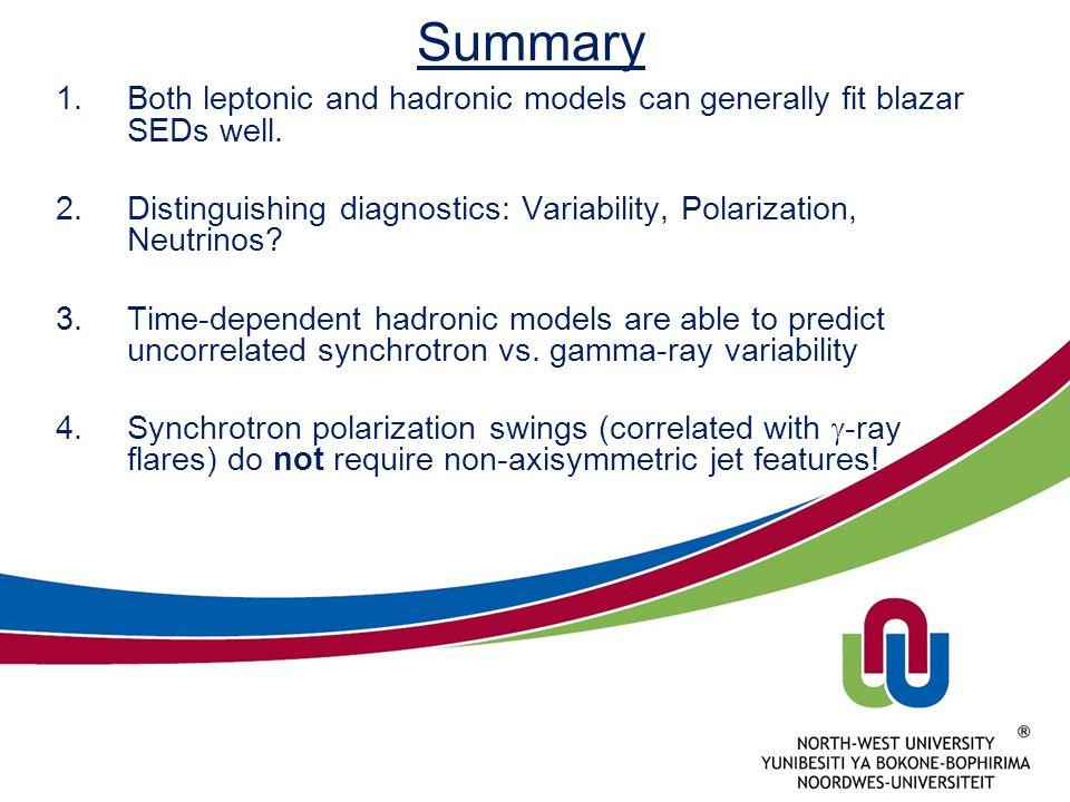 Summary Both leptonic and hadronic models can generally fit blazar SEDs well. Distinguishing diagnostics: Variability, Polarization, Neutrinos