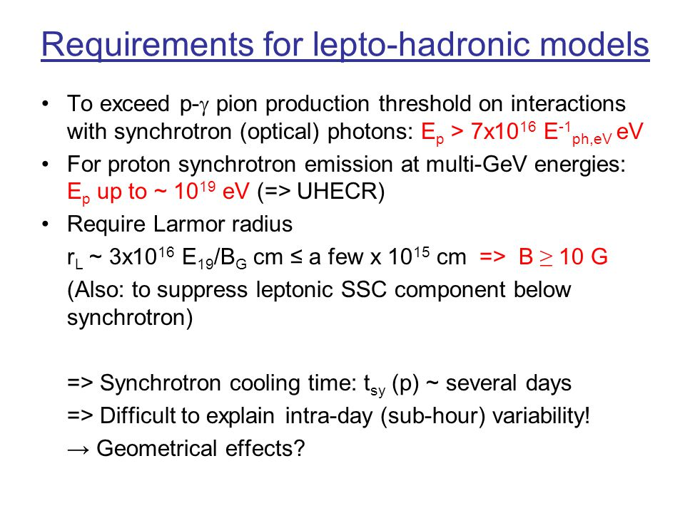 Requirements for lepto-hadronic models