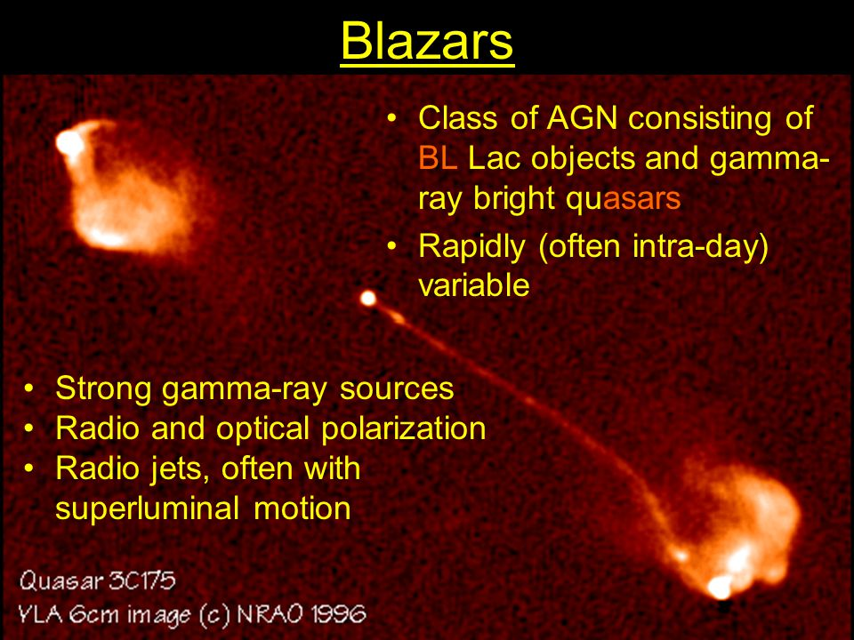 Blazars Class of AGN consisting of BL Lac objects and gamma-ray bright quasars. Rapidly (often intra-day) variable.