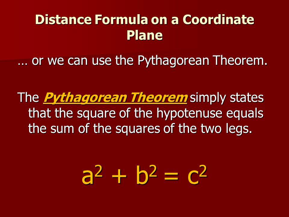 Distance Formula on a Coordinate Plane