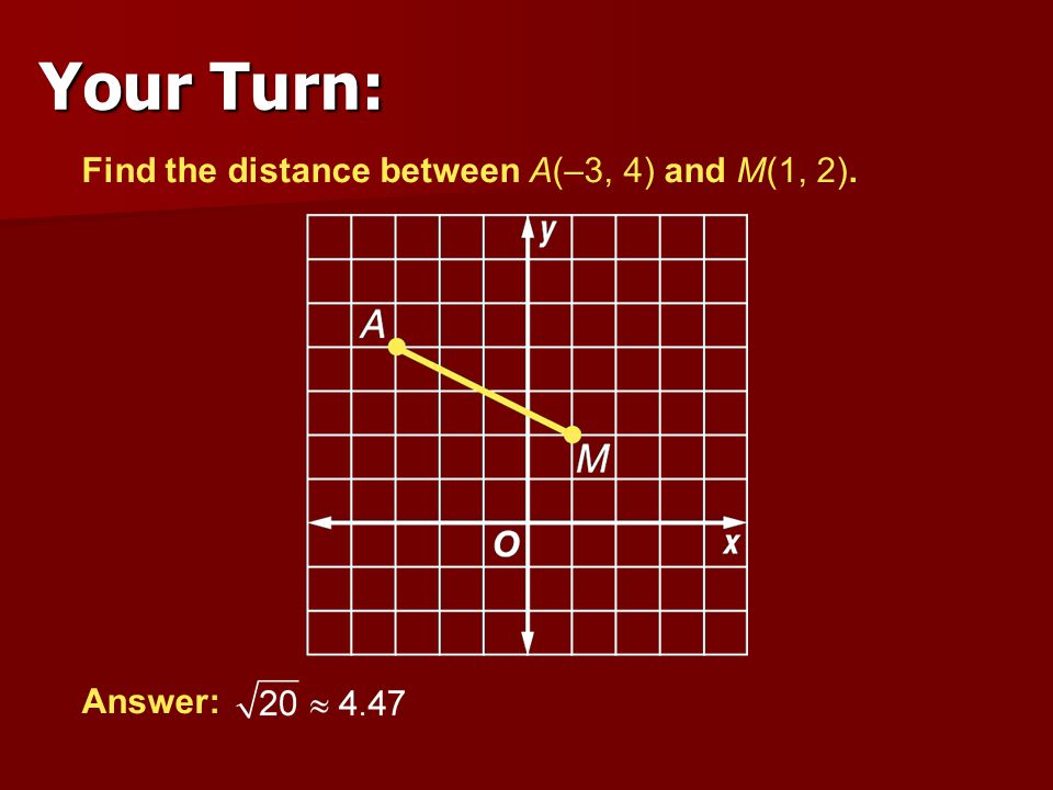 Your Turn: Find the distance between A(–3, 4) and M(1, 2). Answer: