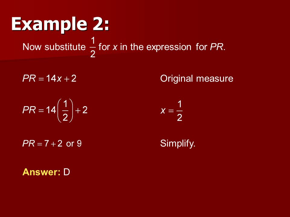 Example 2: Now substitute for x in the expression for PR.