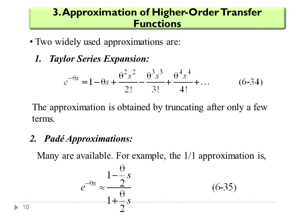 3. Approximation of Higher-Order Transfer Functions