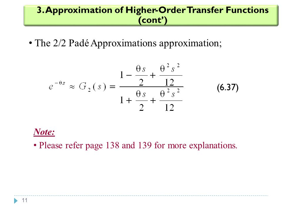 3. Approximation of Higher-Order Transfer Functions (cont')