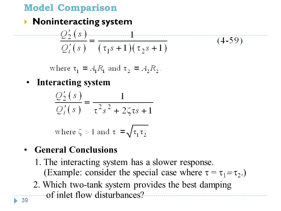 Model Comparison Noninteracting system = = Interacting system =