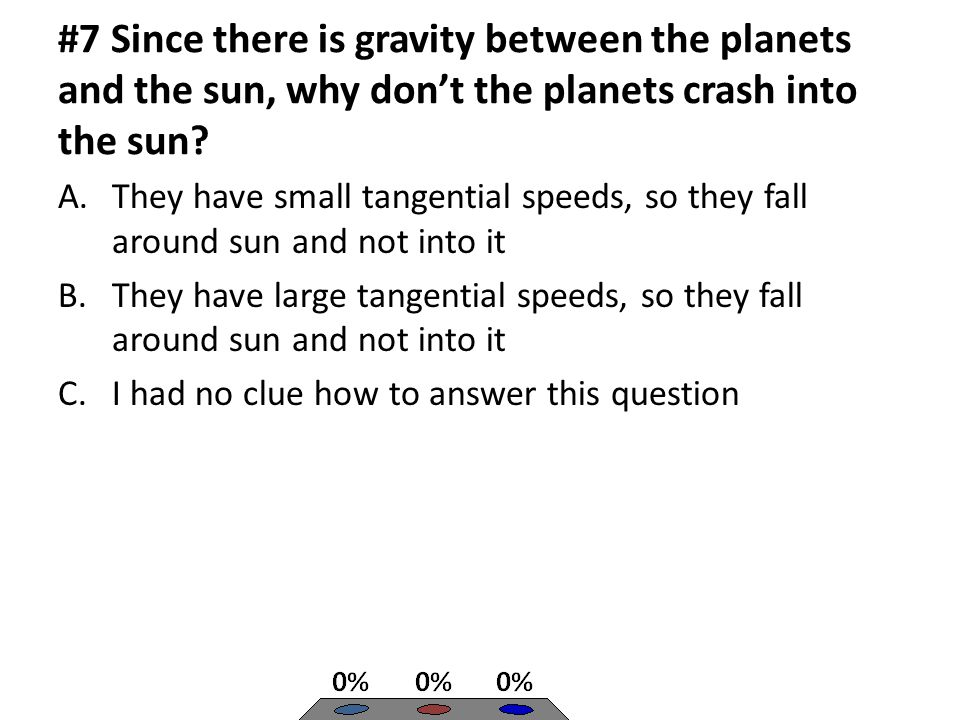 #7 Since there is gravity between the planets and the sun, why don't the planets crash into the sun