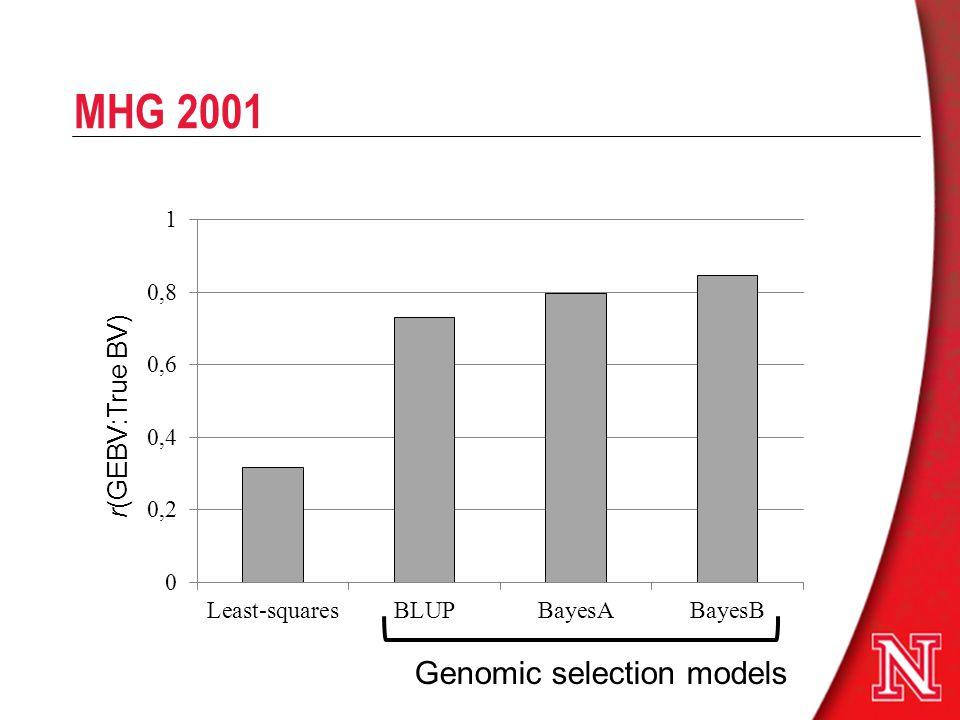 MHG 2001 r(GEBV:True BV) Genomic selection models