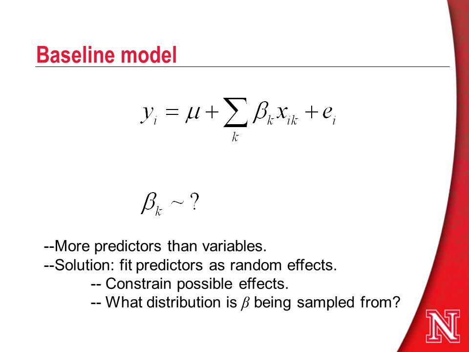 Baseline model --More predictors than variables.