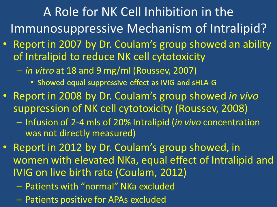 A Role for NK Cell Inhibition in the Immunosuppressive Mechanism of Intralipid