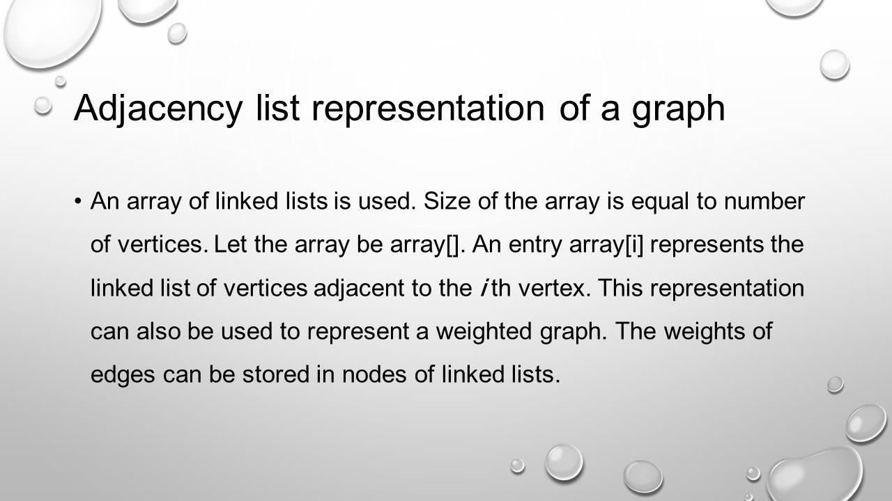 Adjacency list representation of a graph
