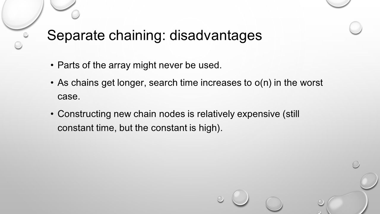 Separate chaining: disadvantages