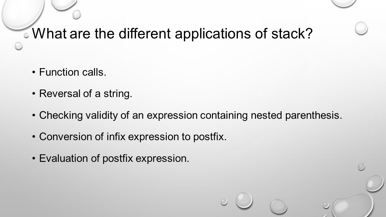 What are the different applications of stack