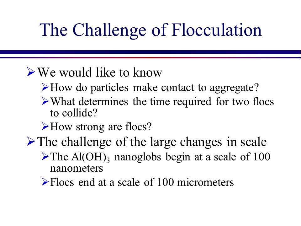 The Challenge of Flocculation