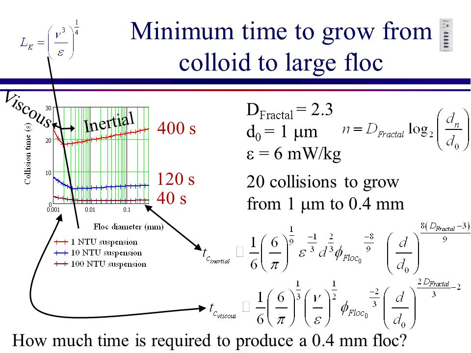 Minimum time to grow from colloid to large floc