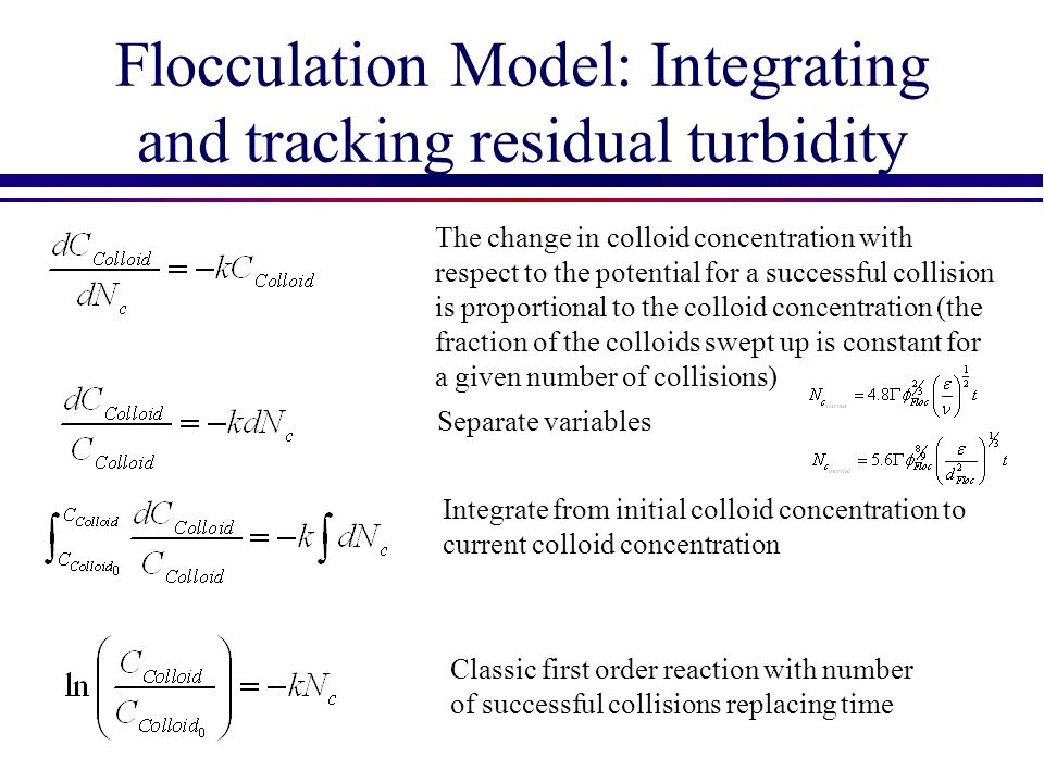 Flocculation Model: Integrating and tracking residual turbidity