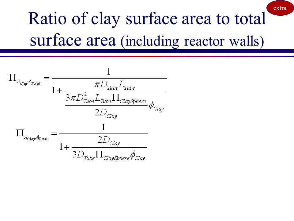 extra Ratio of clay surface area to total surface area (including reactor walls)