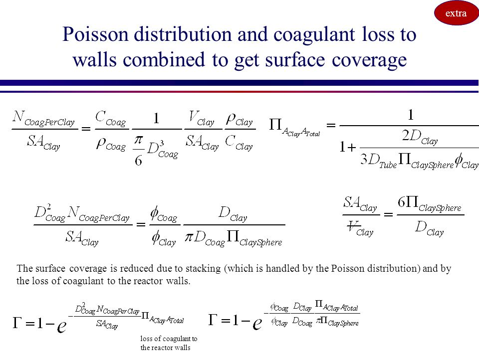 extra Poisson distribution and coagulant loss to walls combined to get surface coverage.