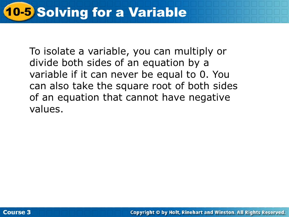 Solving for a Variable 10-5