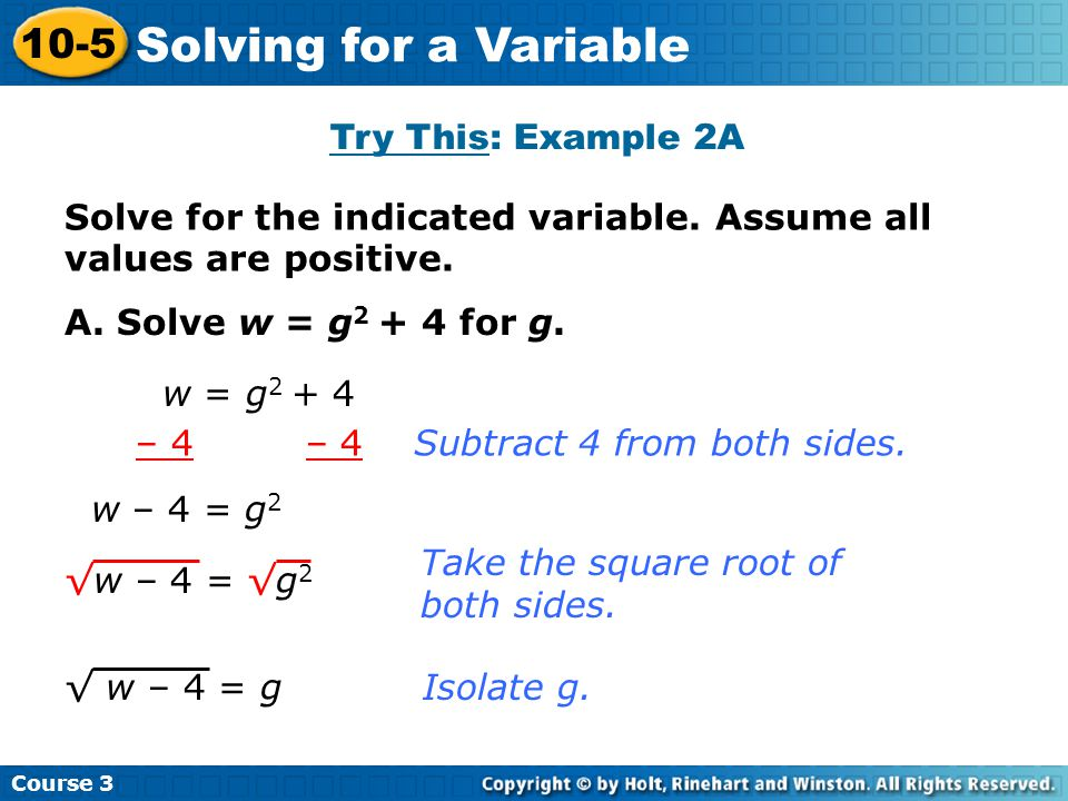 Solving for a Variable 10-5 Try This: Example 2A