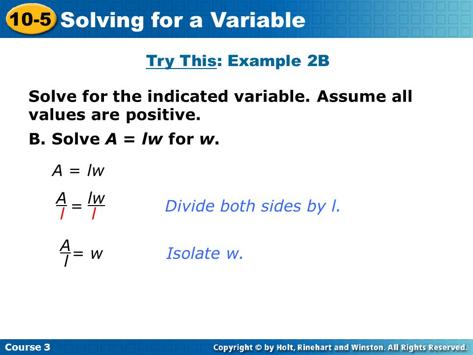Solving for a Variable 10-5 Try This: Example 2B