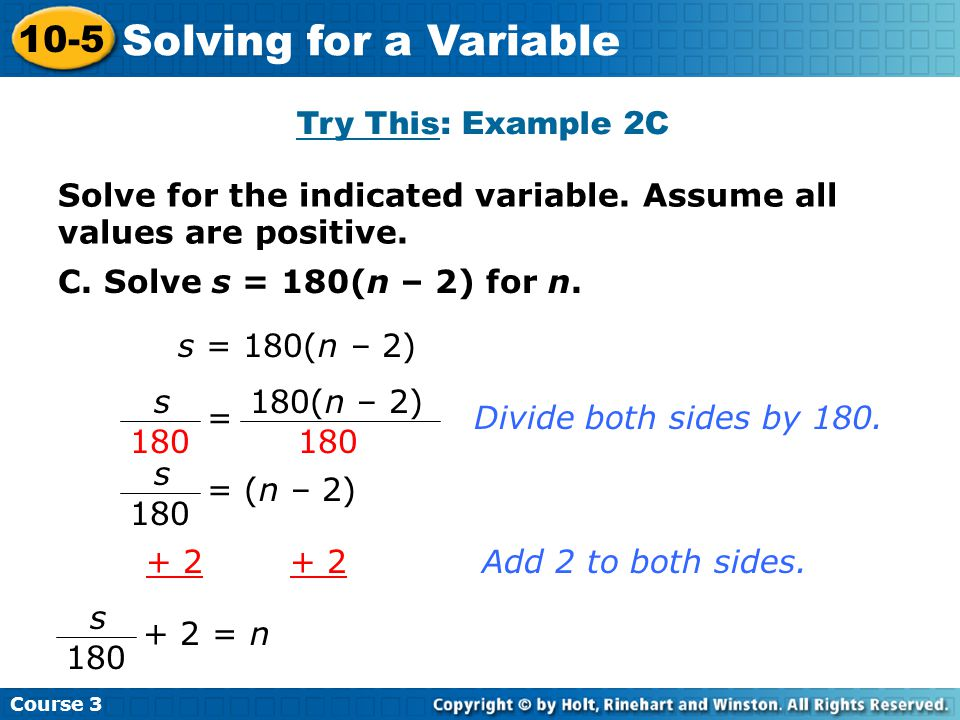 Solving for a Variable 10-5 Try This: Example 2C