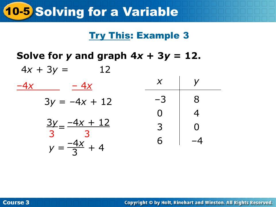 Solving for a Variable 10-5 Try This: Example 3