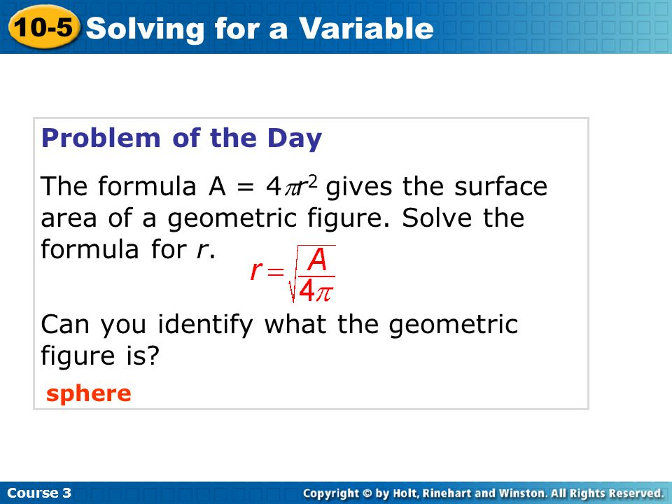Solving for a Variable 10-5 Problem of the Day