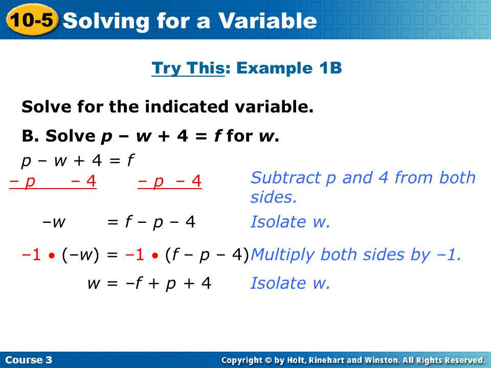 Solving for a Variable 10-5 Try This: Example 1B