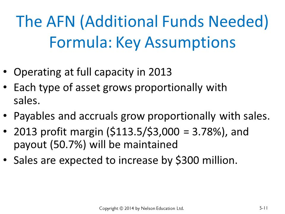 The AFN (Additional Funds Needed) Formula: Key Assumptions