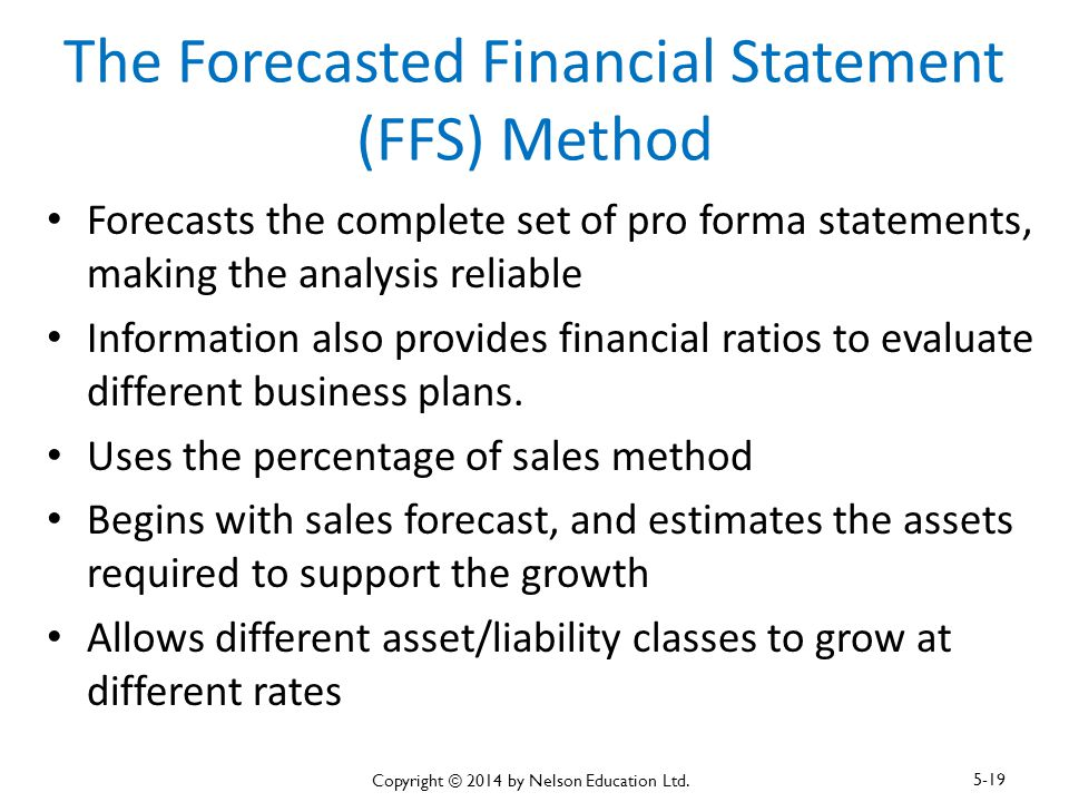 The Forecasted Financial Statement (FFS) Method