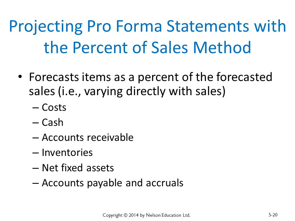 Projecting Pro Forma Statements with the Percent of Sales Method