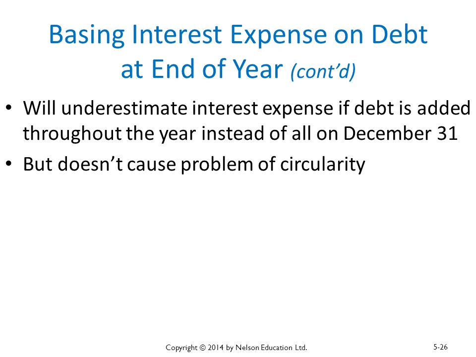 Basing Interest Expense on Debt at End of Year (cont'd)