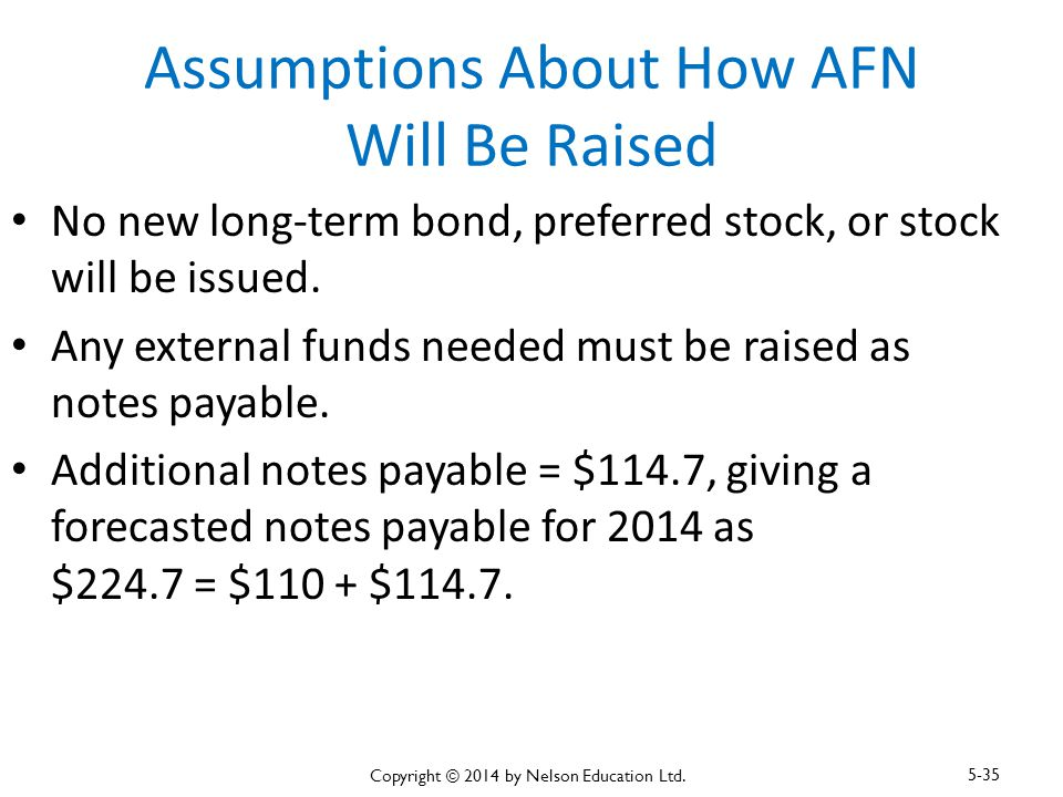 Assumptions About How AFN Will Be Raised