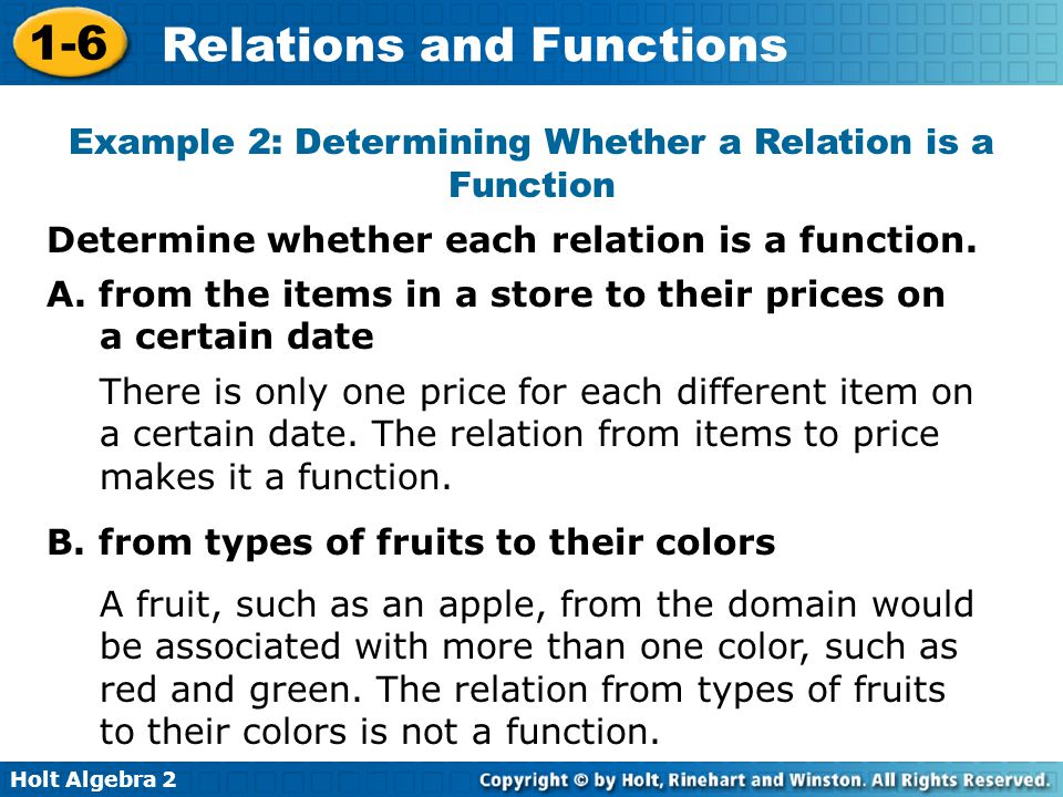Example 2: Determining Whether a Relation is a Function
