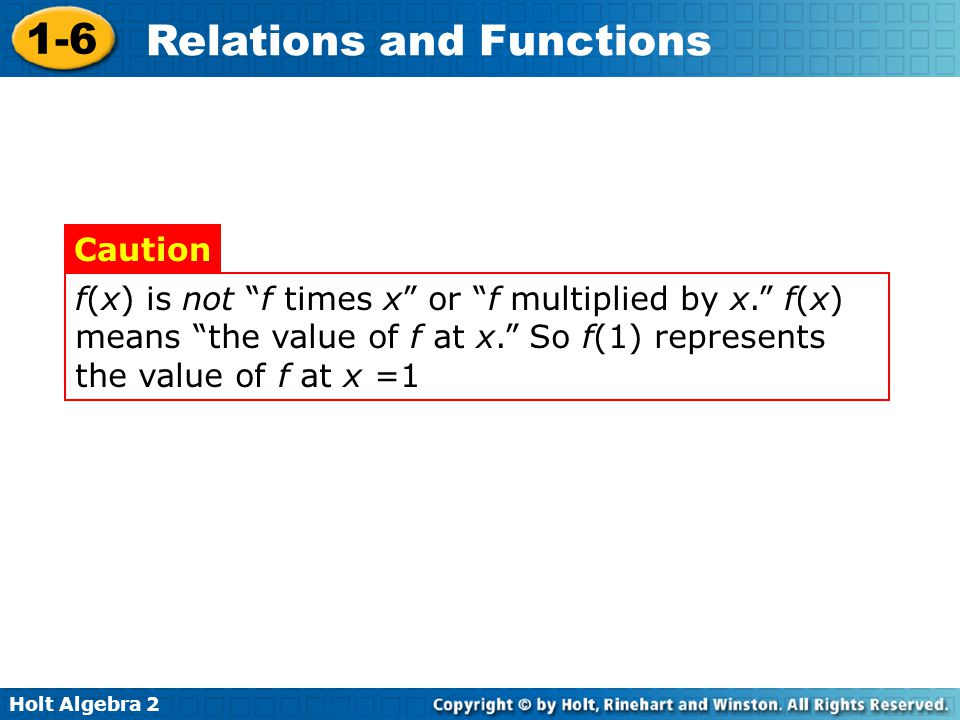 f(x) is not f times x or f multiplied by x