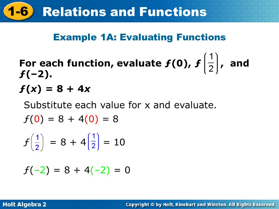 Example 1A: Evaluating Functions