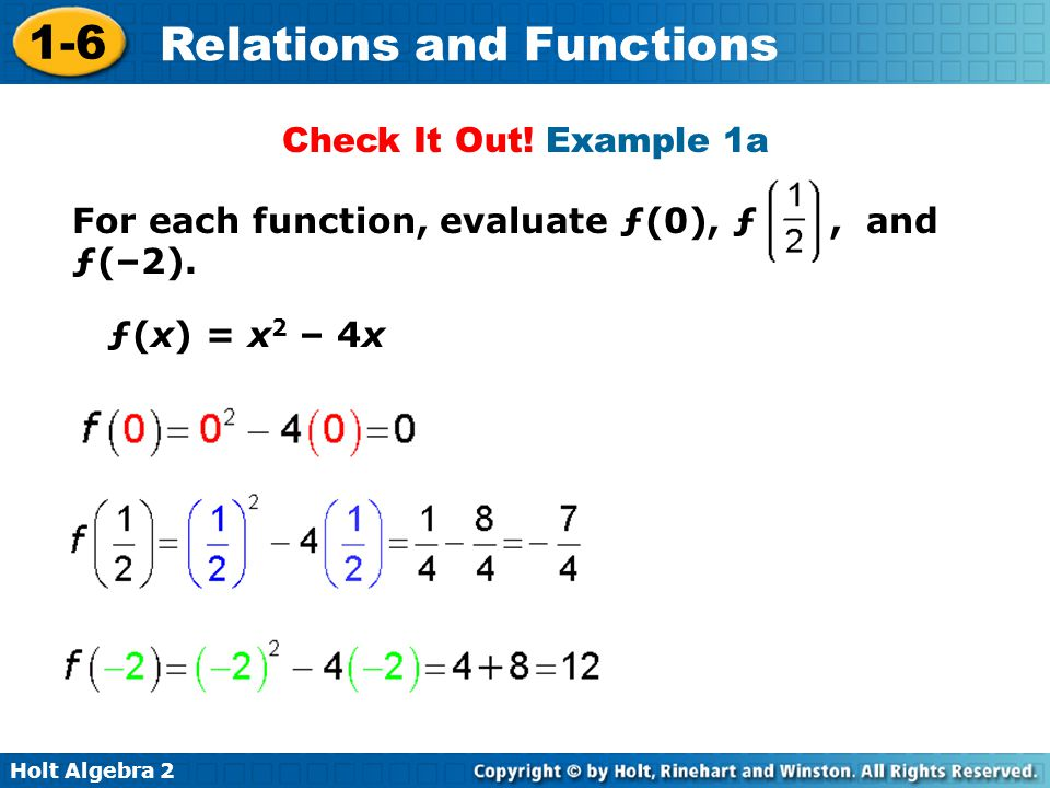 Check It Out! Example 1a For each function, evaluate ƒ(0), ƒ , and ƒ(–2). ƒ(x) = x2 – 4x